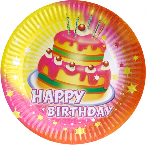 Bunte pappteller happy birthday partysternchen online shop for Bunte pappteller