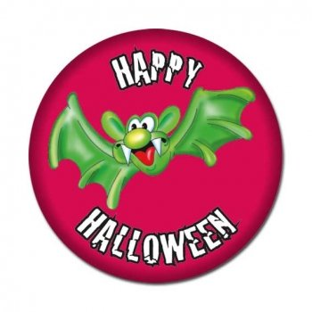 Halloween Button: Happy Halloween mit Fledermaus