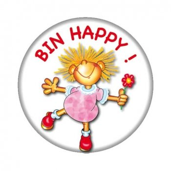Button: Bin Happy, Metallbutton mit Sicherheitsnadel