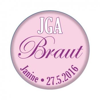 JGA Button Braut, rosa Metallbutton mit Namen und Datum
