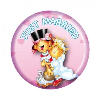 Button: Just Married, lustiger Metallbutton mit Sicherheitsnadel