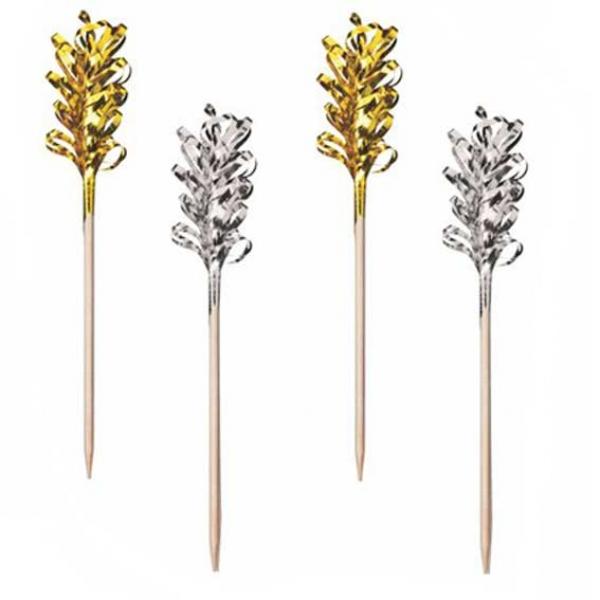 deko picker aus holz gold silber 30 st ck partysternchen partyartikel versand. Black Bedroom Furniture Sets. Home Design Ideas