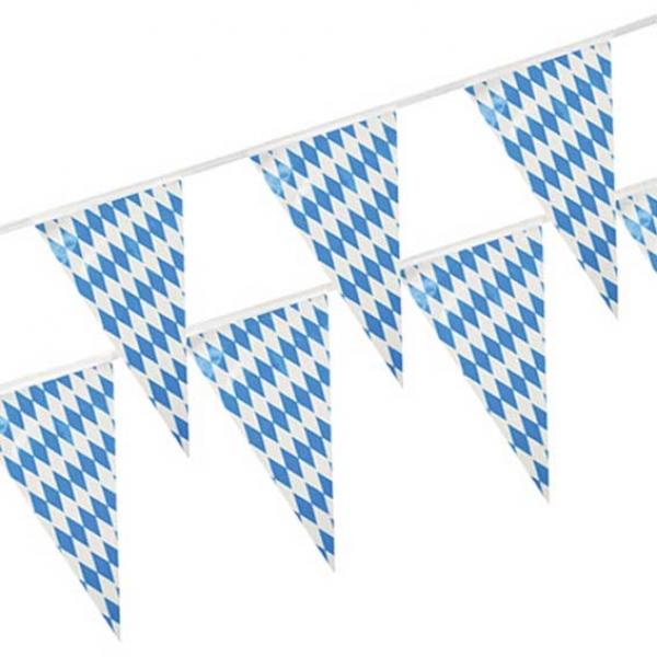 Freistaat Bayern Wimpelkette Wimpel 4 Meter  Weiss Blau Wetterfest Oktoberfest