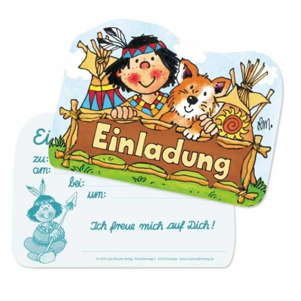 Einladungskarten Zum Indianer Kindergeburtstag, 8 Einladungen
