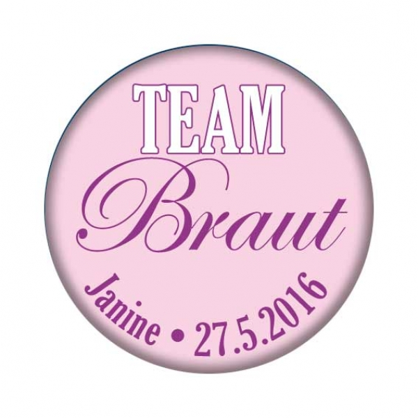 JGA Button Team Braut, Metallbutton mit Namen und Datum